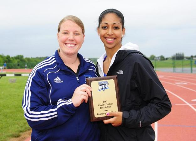 Saunders Wins High Jump at NEC Meet