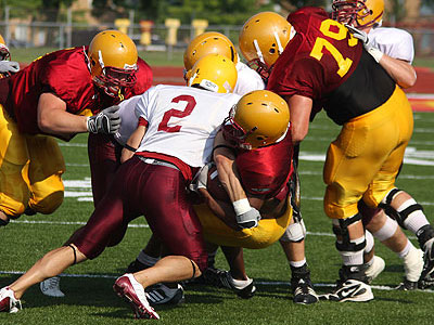 The Bulldogs held their first scrimmage Saturday (Photo courtesy Big Rapids Pioneer)