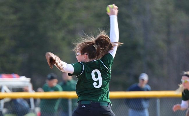 Colleen Mooney (9) had a complete game shutout for Keuka College in Game 1 -- Photo by Shelby Lamb