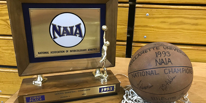 NAIA Division II National Championship trophy and signed basketball from 1992-93