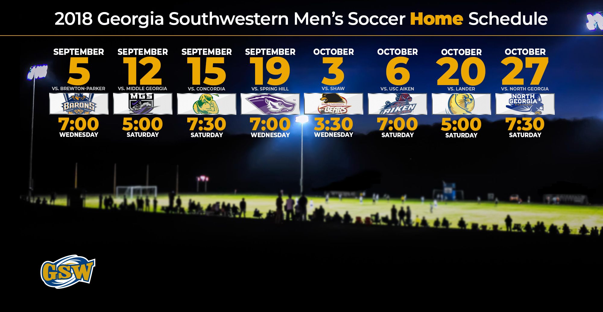 Men's Soccer Schedule Full of Home Night Matches