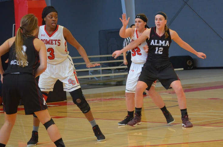 Women's basketball team falls to Alma, 65-45