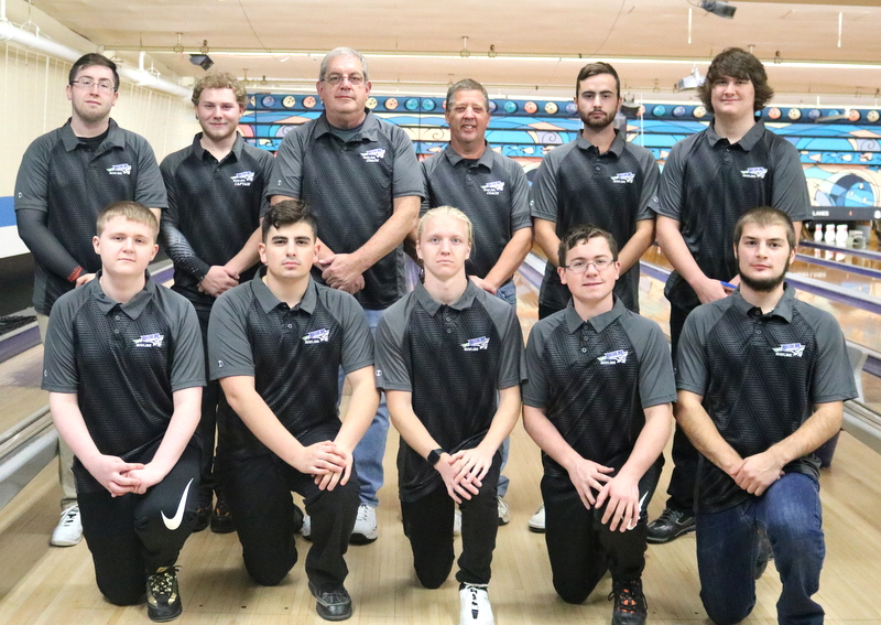 2018-19 Men's Bowling Team: L to R- Bryan Green, Richard Taylor, Coach Rathbun, Coach Hayward, Ethan Hadcock and Hunter Meher. Bottom Row L to R: Brandon Little, Michael Hughes, Brandon King, Andrew Sitterly and Robert Ward.