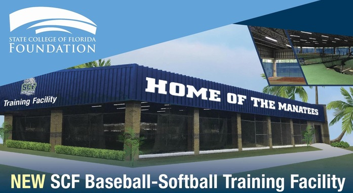 Rendering of the baseball-softball training facility with the foundation's logo