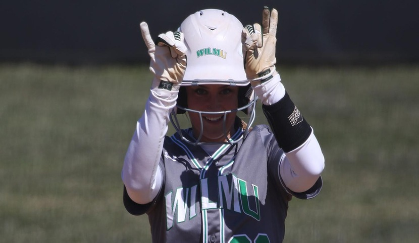 Copyright 2018; Wilmington University. All rights reserved. File photo of Lexi Baughman who went 3-for-3 with a double and three RBI in game two at Goldey-Beacom. Photo by Frank Stallworth. March 18, 2018 vs. Adelphi. Game 1.