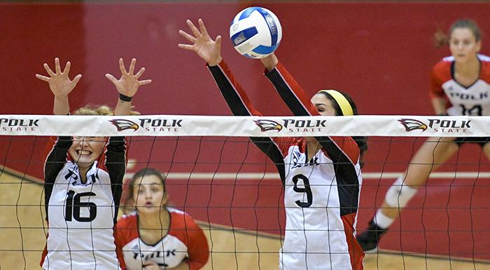 Kaylee Gartino (9) blocks a shot in Polk State's 3-0 win over Eastern Florida. (Photo by Tom Hagerty, Polk State.)