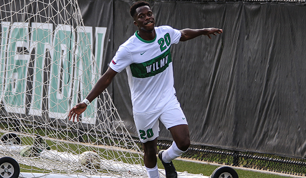 Copyright 2017; Wilmington University. All rights reserved. Photo of Abdul Mansaray after one of his two goals against Dominican on Saturday.