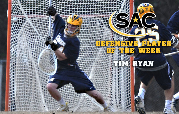 Ryan Earns SAC Defensive Player of the Week Honors for Second Time