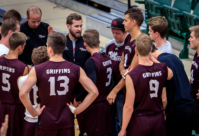 MacEwan Griffins head coach Brad Poplawski talks with his team during a match earlier this season. The Griffins kick off the second half of the season at Saskatchewan this weekend (Robert Antoniuk photo).