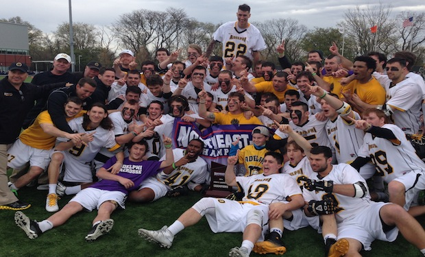 Adelphi Outlasts Merrimack, 13-12, in Northeast-10 Men's Lacrosse Championship Overtime Thriller