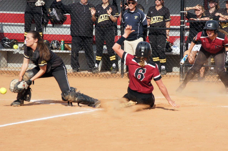 Makayla Carver '19 Scores the Game-Winning Run Versus Randolph-Macon (John Bell photo, Touch A Life Photography)