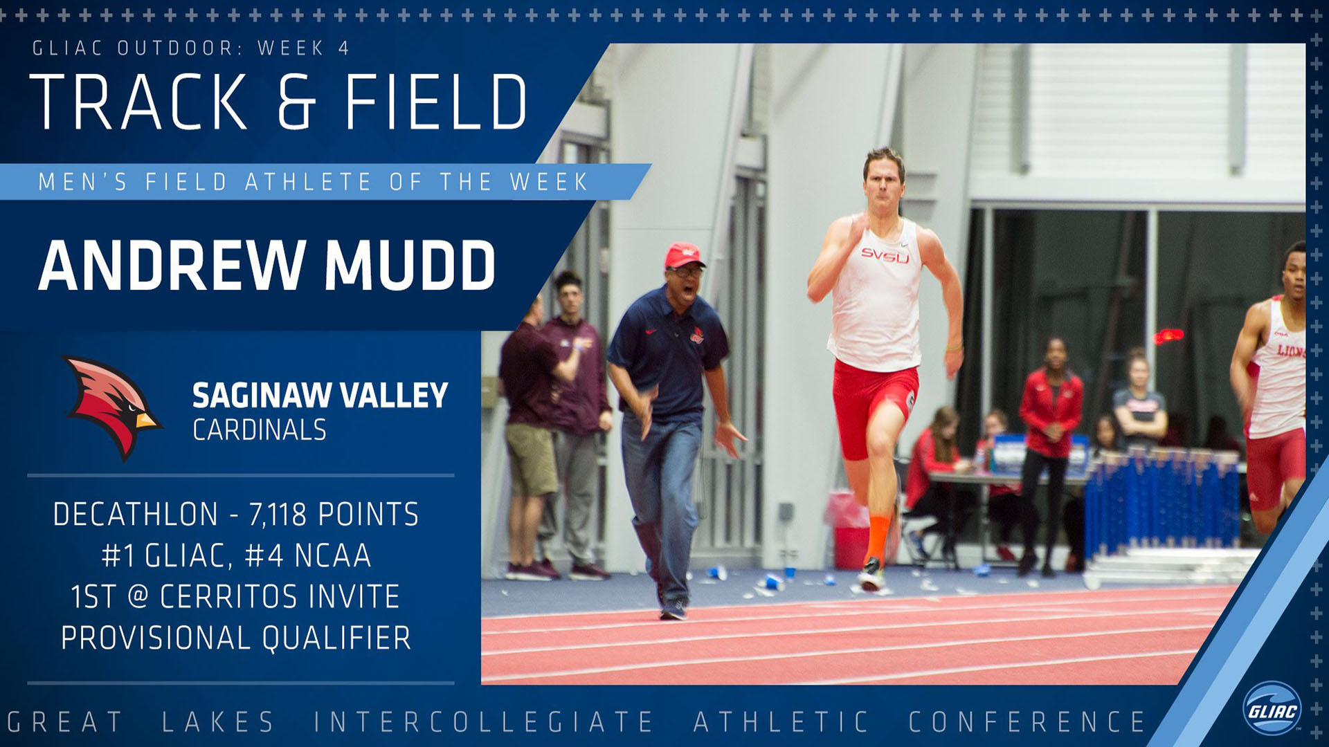 Andrew Mudd Named GLIAC Field Athlete of the Week