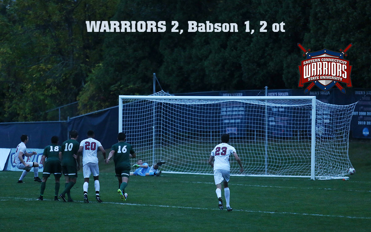 Eastern's Xavier Doran (far left) and Babson keeper Austin Mankouski watch as Doran's penalty kick shot settles inside the right post with 56 seconds left in overtime in the Warriors' 2-1 non-conference victory over the Beavers.