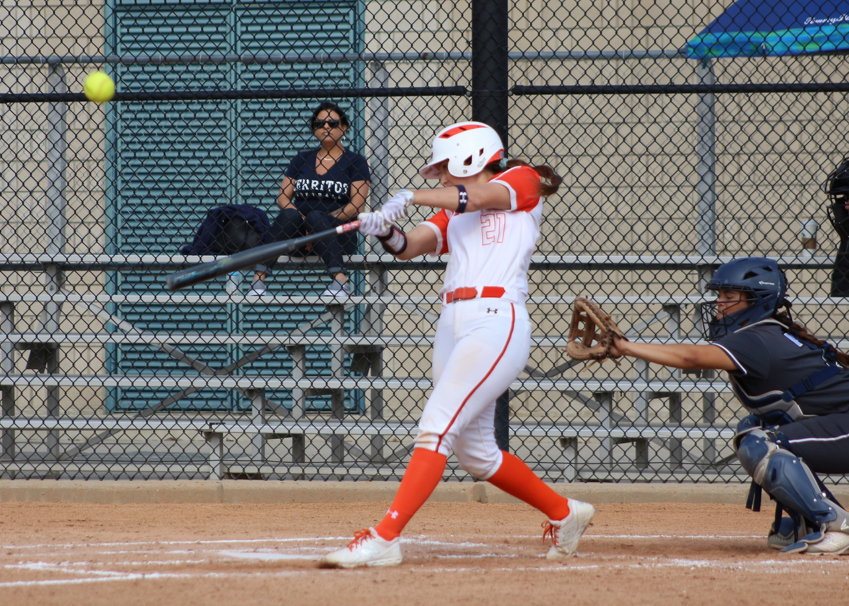 Emily Paredez drives a ball to left center. Image: Treyvon Watts-Hale