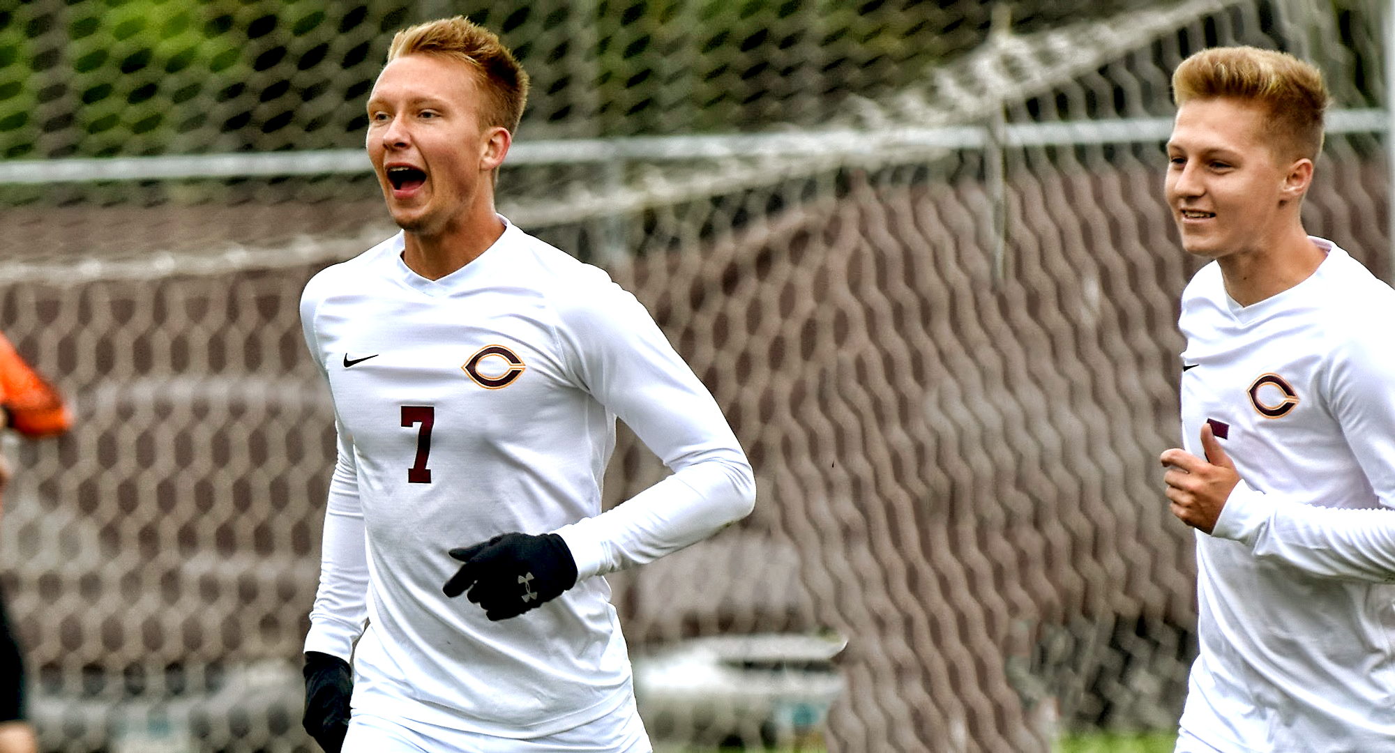 Sam Gess (L) finished off his 2-hat trick weekend by scoring all three goals in the Cobbers' 3-2 OT win over Viterbo.