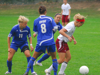 Emily Kraska posted a team-leading three shots on goal against Grand Valley State.  (Photo by Joe Gorby)