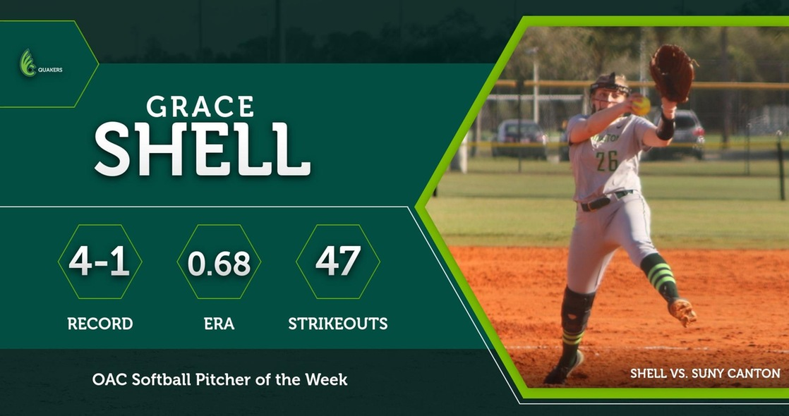 Grace Shell Named OAC Softball Pitcher of the Week