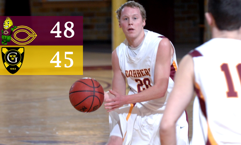 Junior guard Brett Bergeson scored eight points in the final five minutes to help break the Cobbers' 19-game losing skid at Gustavus.