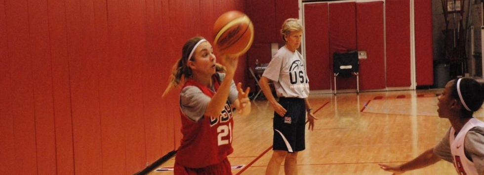 Emilie Johnson practices with Team USA (Photo courtesy of USA Basketball Photos)