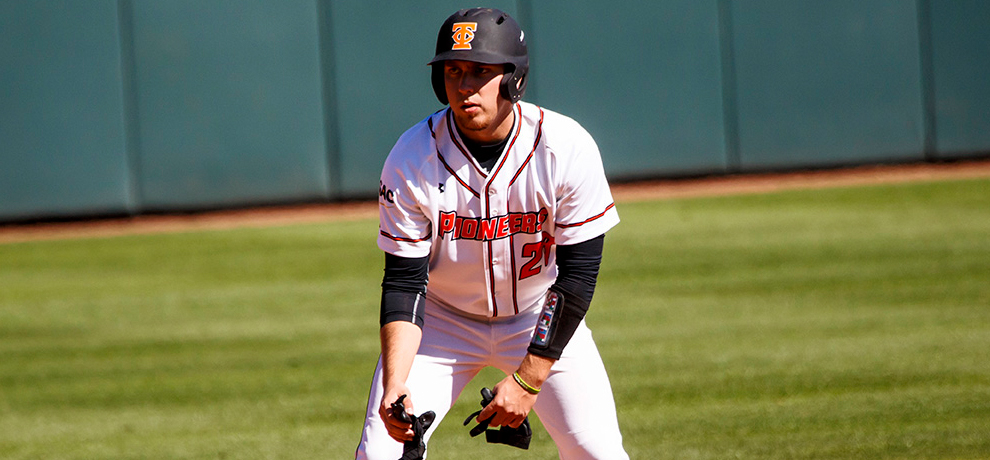 Jake Wapinsky reached base safely in all seven of his plate appearances, scoring four times in Tusculum's DH sweep over No. 9 Wingate (photo by Chuck Williams)