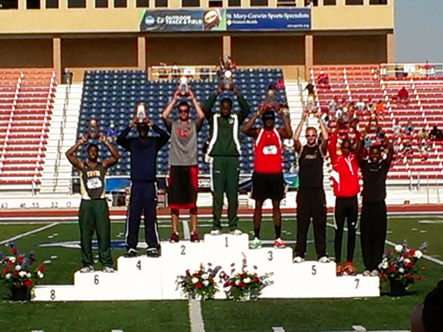 Sophomore high jumper Jamil Dudley takes his place atop the podium after winning the national championship at the 2012 NCAA Outdoor Track and Field Championships. (Photo courtesy Bryan Harmon)