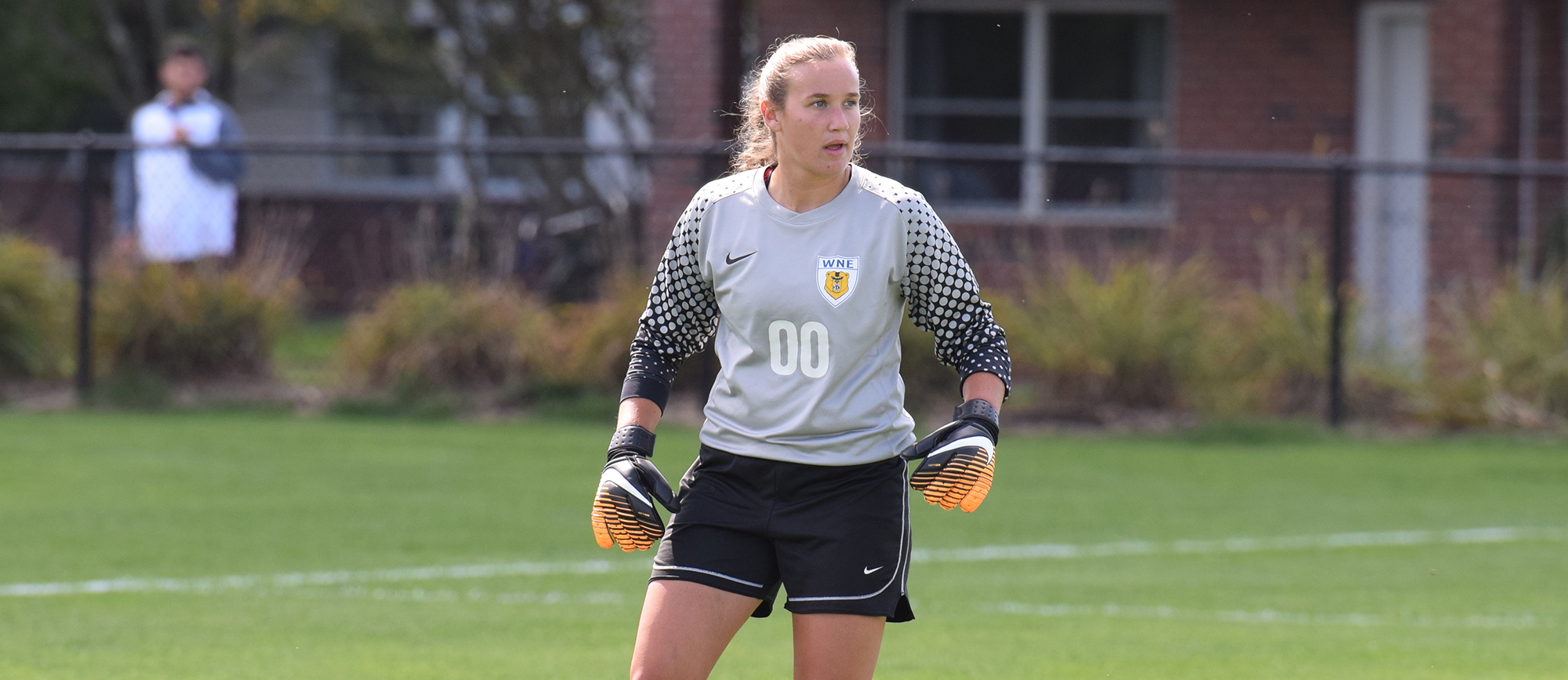 Sophomore goalkeeper Alex Lemekha registered her CCC-leading fourth shutout of the season in Saturday's 1-0 win over Salve Regina. (Photo by Rachael Margossian)