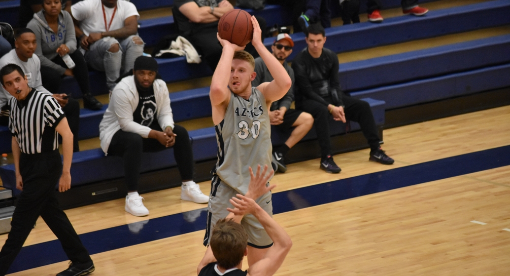 Sophomore Kennedy Koehler produced his 13th double-double of the season as he finished with 21 points and 10 rebounds in Pima's 94-75 win against Central Arizona College. The Aztecs have won 14 of their last 16 games and are now 18-5 overall and 11-4 in ACCAC conference play. Photo by Ben Carbajal