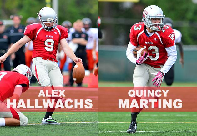 Alex Hallwachs and Quincy Marting Earn D3football.com All-America Honors
