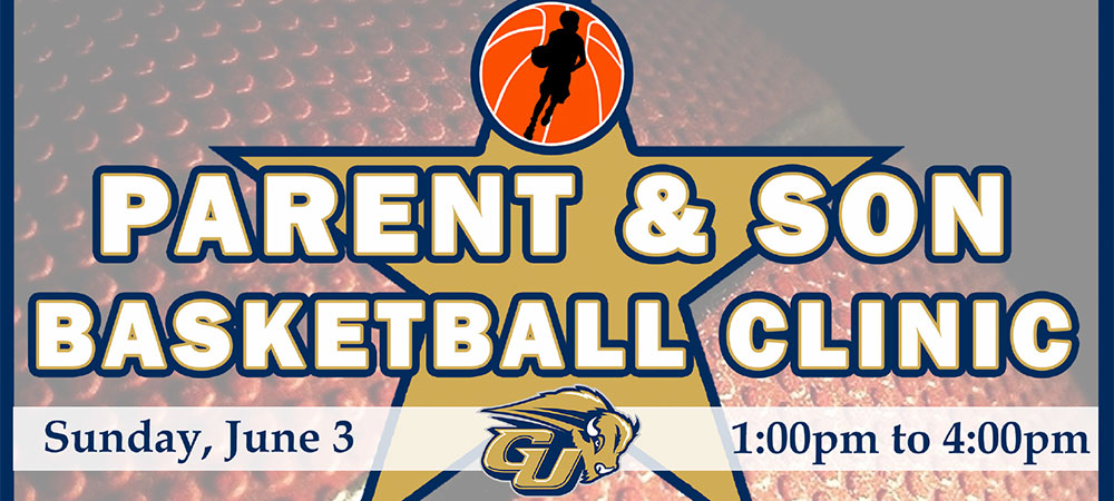 Parent & Son Basketball Clinic image. Clinic will be held on Sunday, June 3, from 1-4 p.m.
