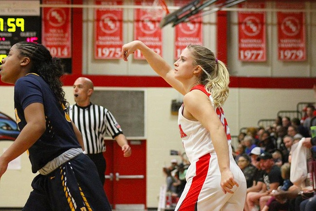 Leah Goodman see's one of her four three-pointers on the night go through the net as she finished with 19 points Tuesday night. (Photo by Aaron Webster)