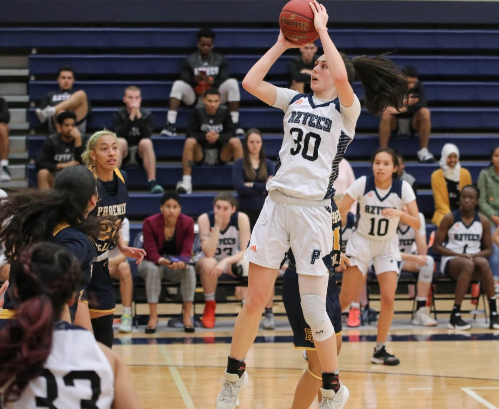 Sophomore Hallie Lawson (Campo Verde HS) posted a double-double of 15 points and 10 rebounds as the Aztecs women's basketball team beat No. 20 Mesa Community College 58-46. The Aztecs moved within a game of Mesa for the No. 1 seed in ACCAC Division II. The Aztecs are 19-7 overall and 12-6 in ACCAC conference play. Photo by Stephanie Van Latum