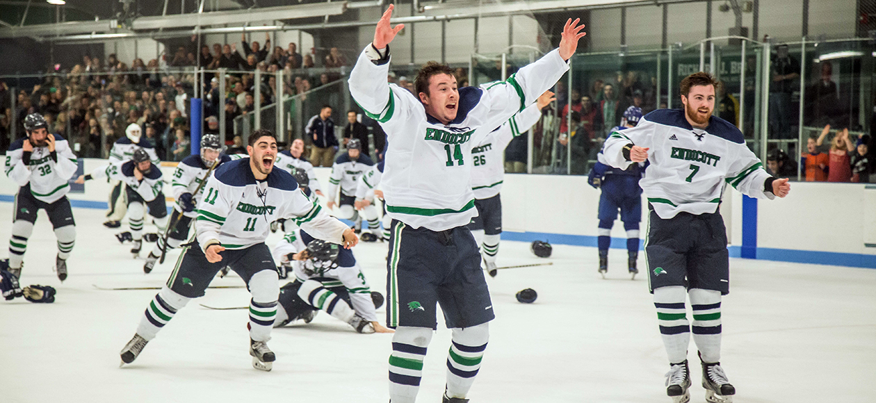 Men's ice hockey celebrates winning the CCC title.