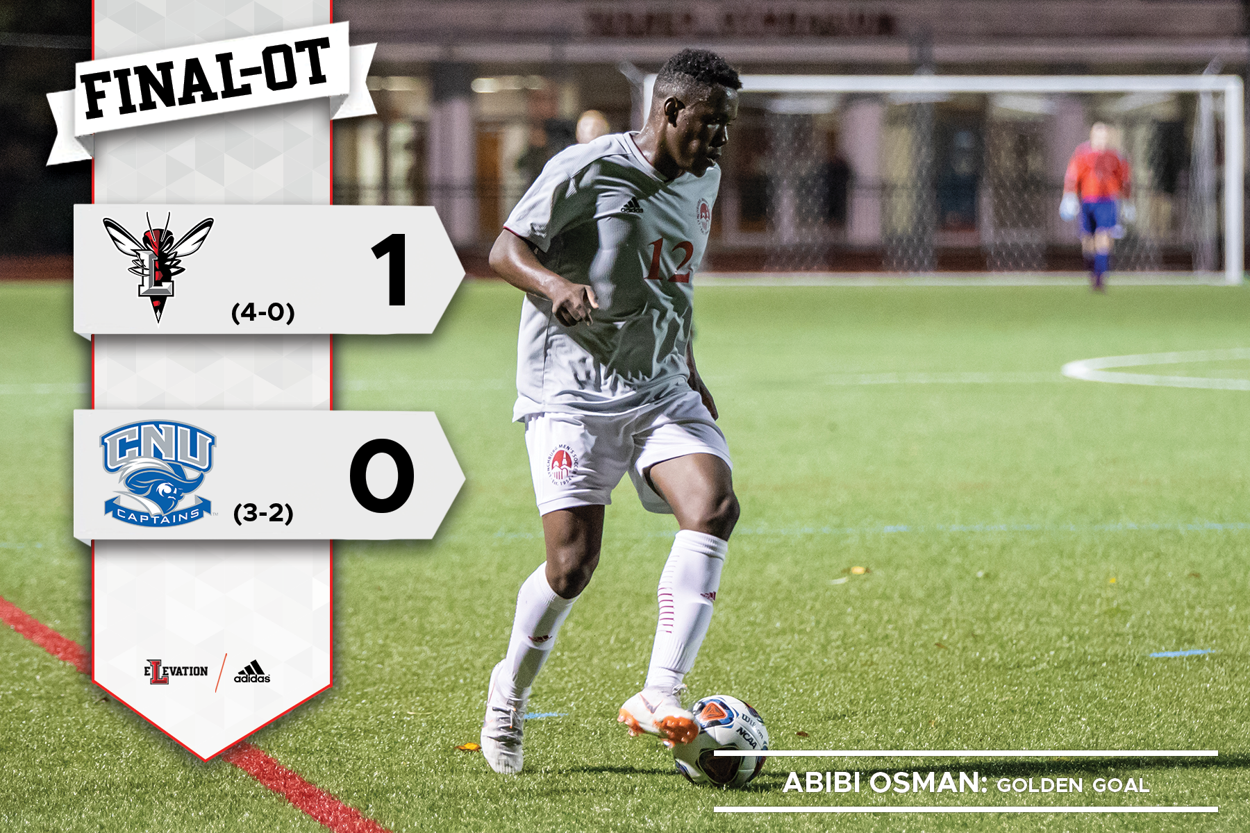 Abibi Osman dribbles the soccer ball. Graphic showing 1-0 final score in OT. School logos.