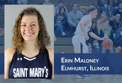 Multi-layered image. Left side features full-color headshot of Erin Maloney. Right side has faded out action photo of Erin dribbling a basketball with spectators in the background. Also on right side is white text reading
