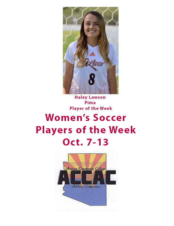 Pima's Lawson is women's soccer Player of the Week