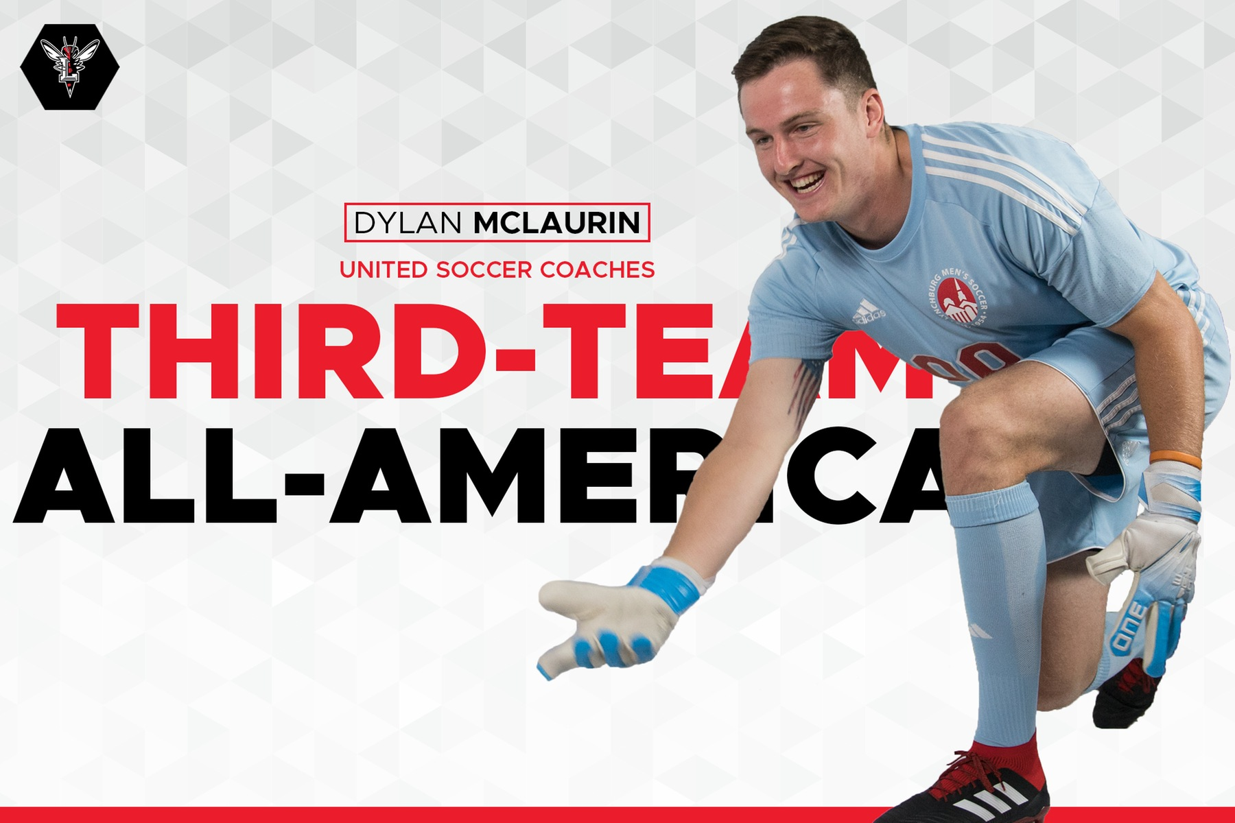 Image of Dylan McLaurin rolling a soccer ball, cutout on white background. Text: Dylan McLaurin Third-team All-America