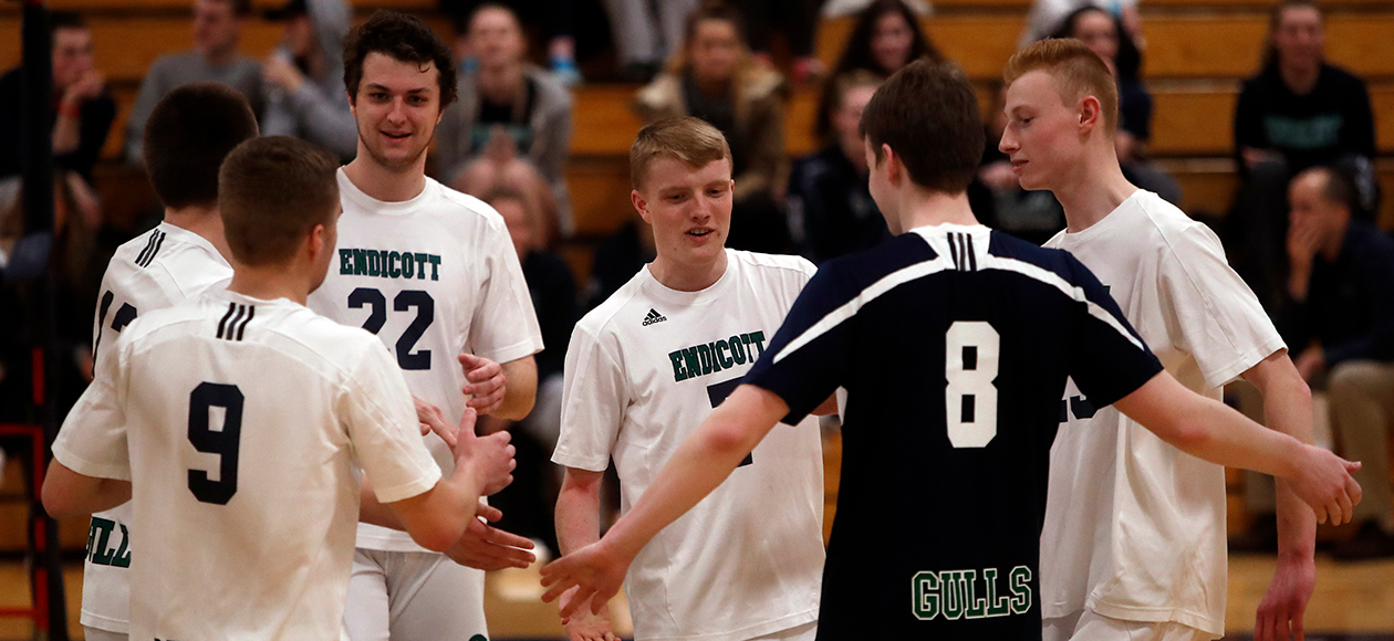 The Endicott men's volleyball team celebrates a point.