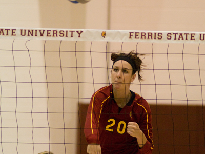 Kristy Gilchrist totaled a team-high 13 kills for Ferris State in the GLIAC Tournament match.