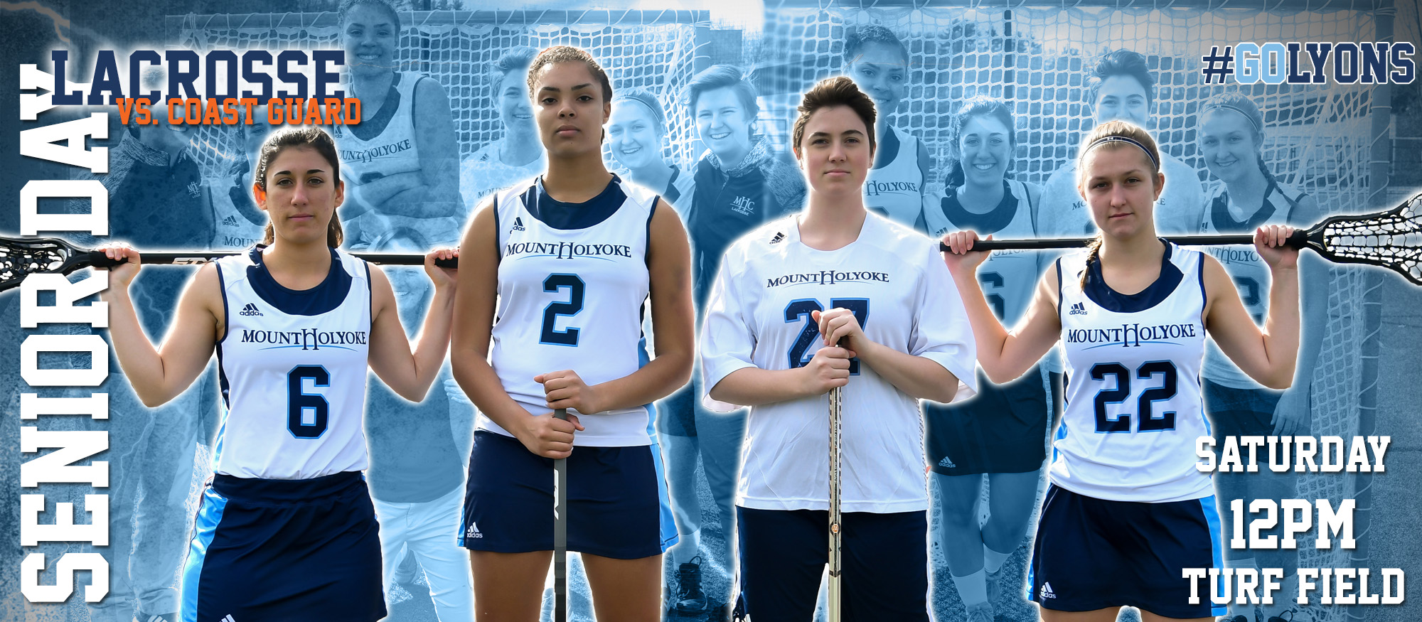 Senior day graphic depicting the Lyons lacrosse team seniors Kaiti Braz, Leila Kouakou, Clarissa Leight and Julia Lankin. April 21, 2018 will be their senior day at 12pm against Coast Guard.
