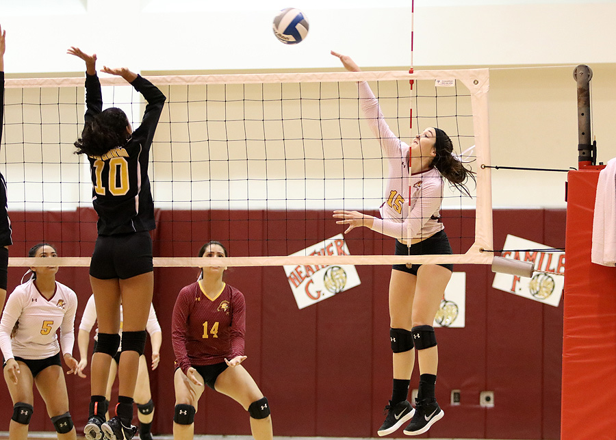 Lancer Janell Currier fires a kill in a recent match. She helped PCC earn its second straight SCC North Division championship on Friday night.