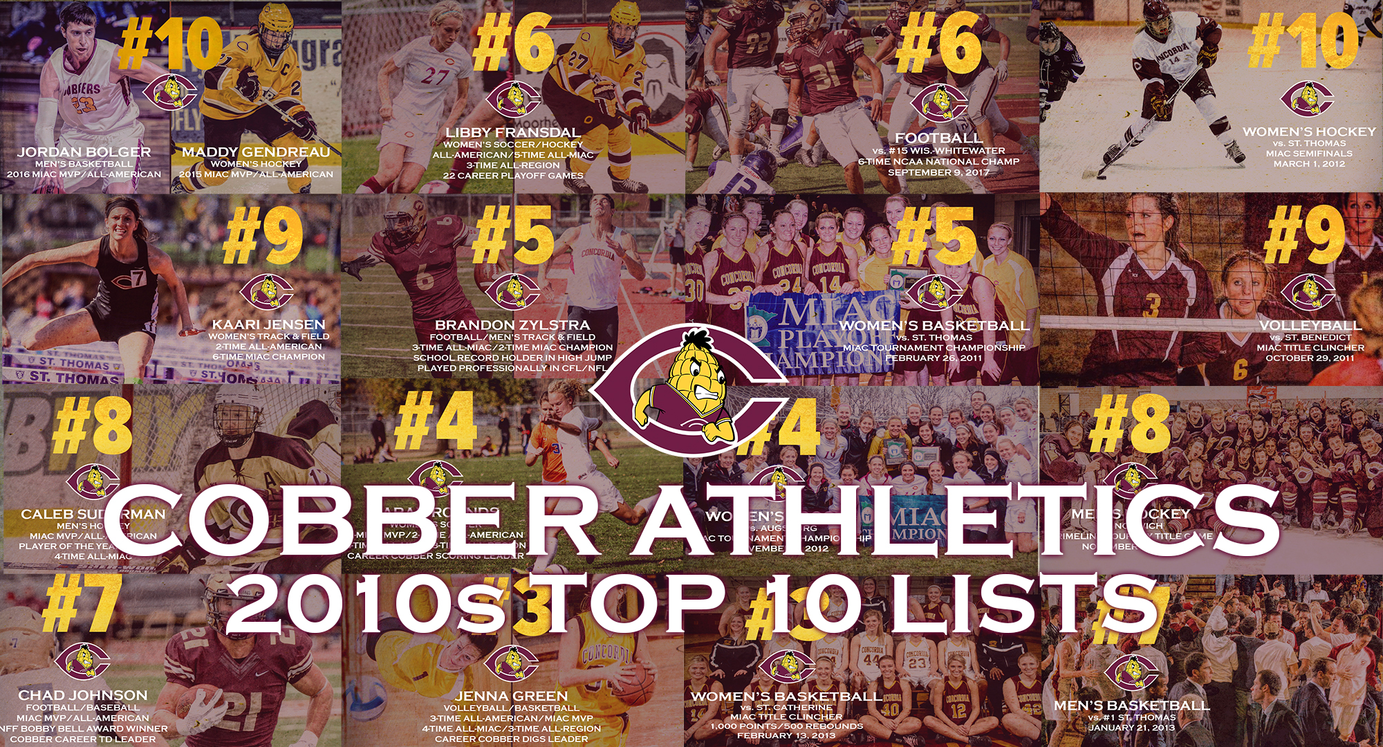 Cobber Athletics Top 10 Lists from the 2010s