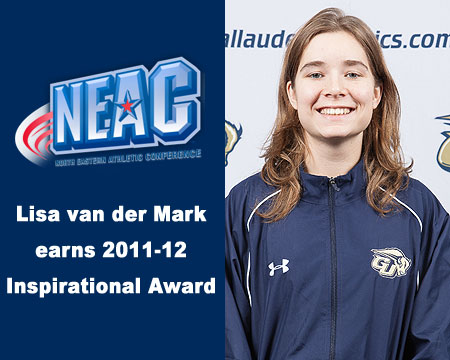Gallaudet University swimmer Lisa van der Mark honored with NEAC Inspirational Award