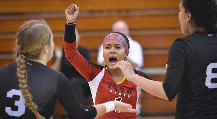 Keisha Santana and the Eagles soared into a tie for second place with a 3-1 win over Hillsborough. (Photo by Tom Hagerty, Polk State.)