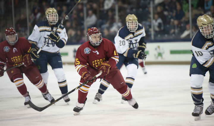 Bulldog Hockey Battles #7 Notre Dame In Series' Finale Setback