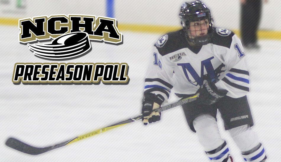 Marian women's hockey NCHA preseason poll graphic.