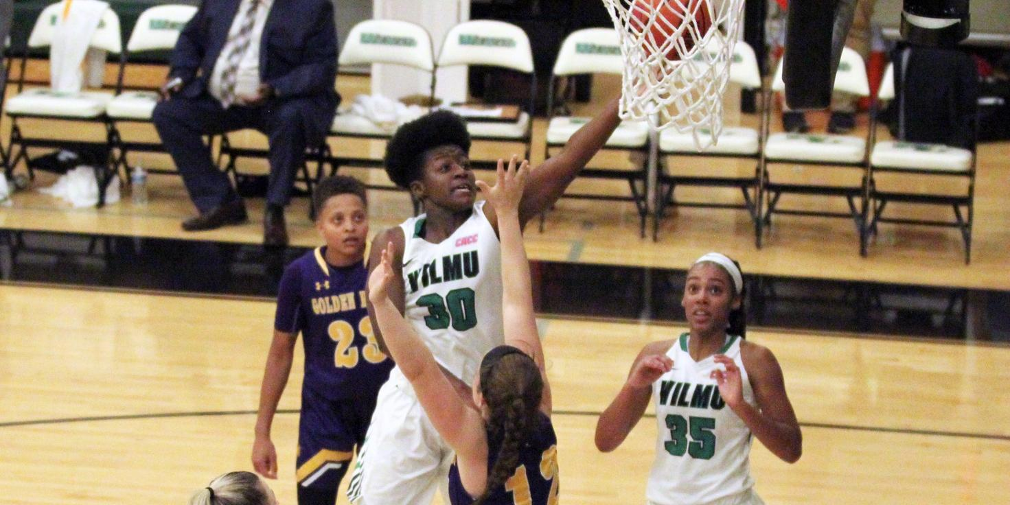 File photo of Emily Ansah who went a perfect 6-for-6 and had a double-double with 14 points and 11 rebounds at Jefferson. Copyright 2019; Wilmington University. All rights reserved. November 14, 2019 vs. West Chester. Photo by Mary Kate Rumbaugh.