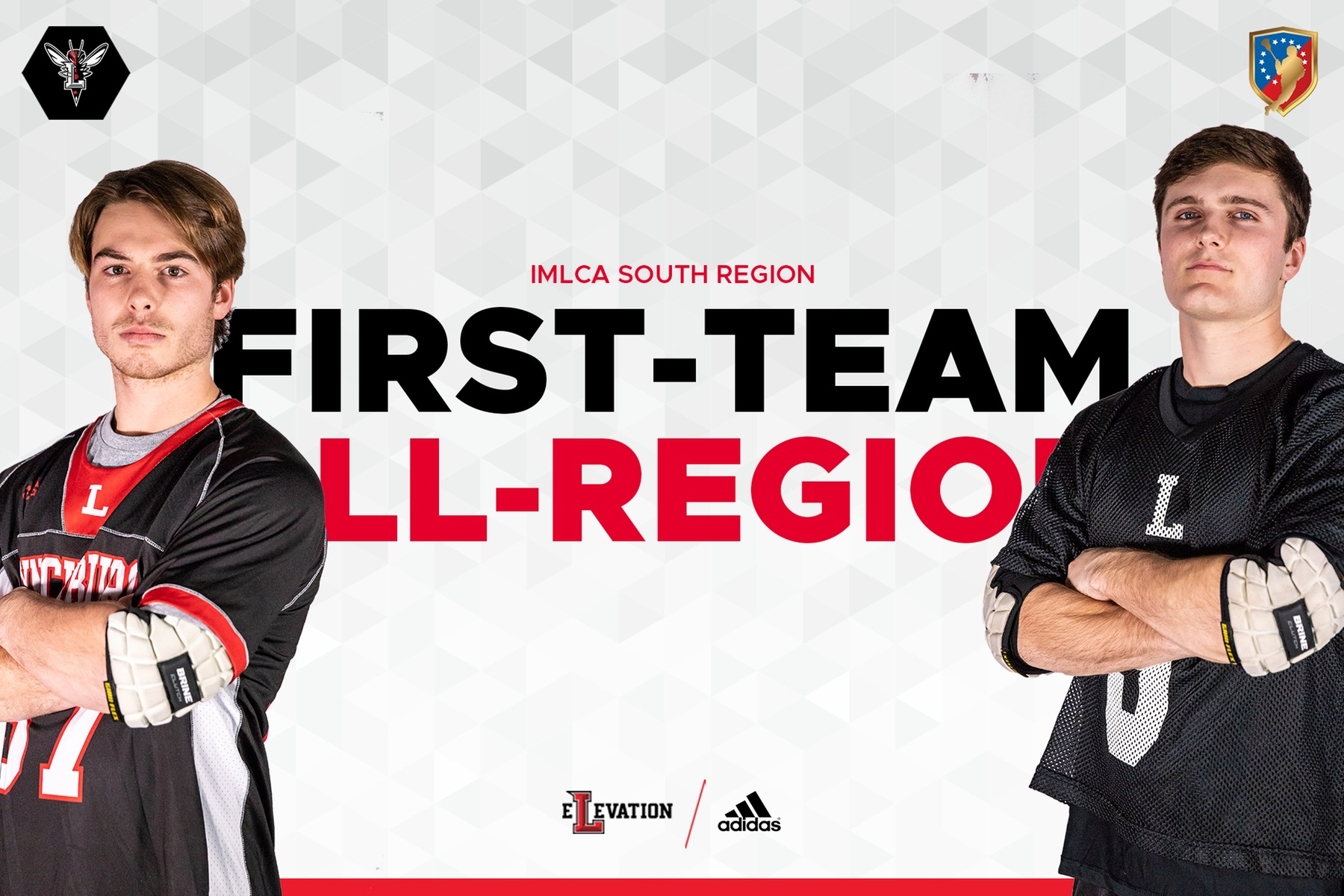Photos of Meadows and McDonald on white background in uniform. Text in middle: IMLCA first-team all-region