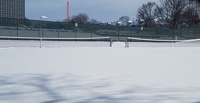 Hoffman Courts under snow after a winter storm on March 21, 2018.
