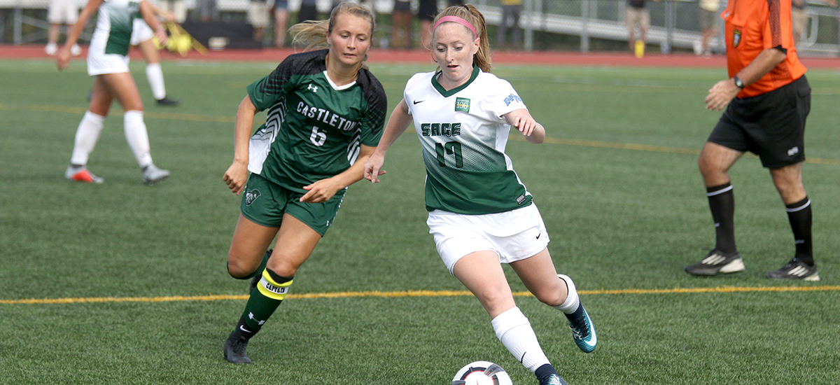 Cortland Tops Sage in women's soccer action