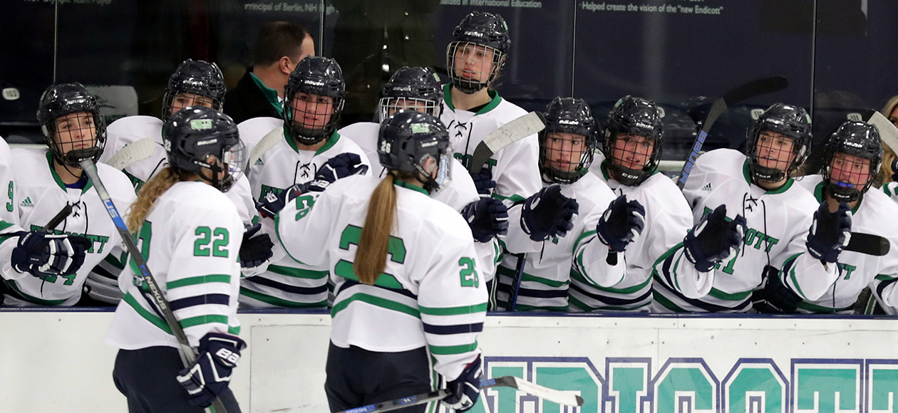 Endicott women's ice hockey bench celebrates a goal.